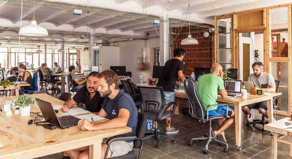 esempio di Coworking. Team lavora in spazio condiviso.